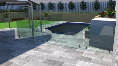 2D Design Pool with Frameless Glass Fences and Grey Limestone Paving Services Perth