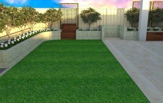 Artificial Turf Installation with Cement Retaining Walls Perth