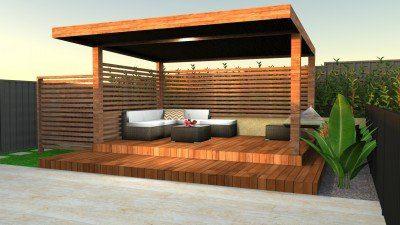 2D Backyard Garden and Patio Decking Design