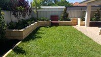 Turf installation, Retaining Wall and Secking Landscape services Perth