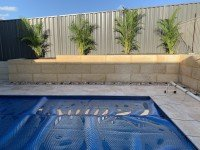 Limestone Retaining Walls with Plants and Pool Paving Design