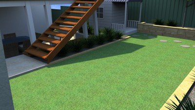 Hardwood Stairs with Artificial Grass Lawn Installation Services Perth