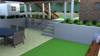 Synthetic Turf in an Outdoor Space Area Landscape Design