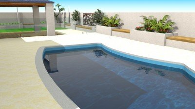 Limestone Outdoor Pool Paving with Retaining Walls 2D Design Services