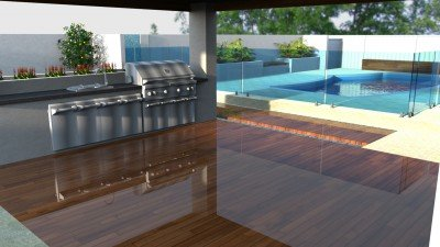 High Quality Timber Wood decking with Limestone Pool Paving
