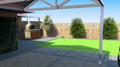 Grey Concrete Paving in a Patio with Lush Green Lawn