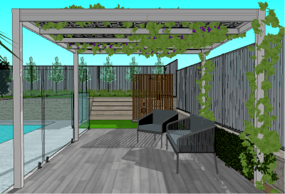 2D Grey Wood Decking with Vineyard Patio Landscape Design Services