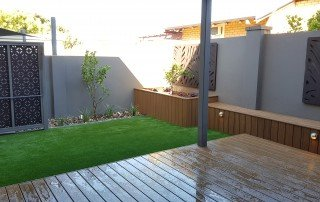 Artificial Grass with Timber Wood Decking Landscape Perth